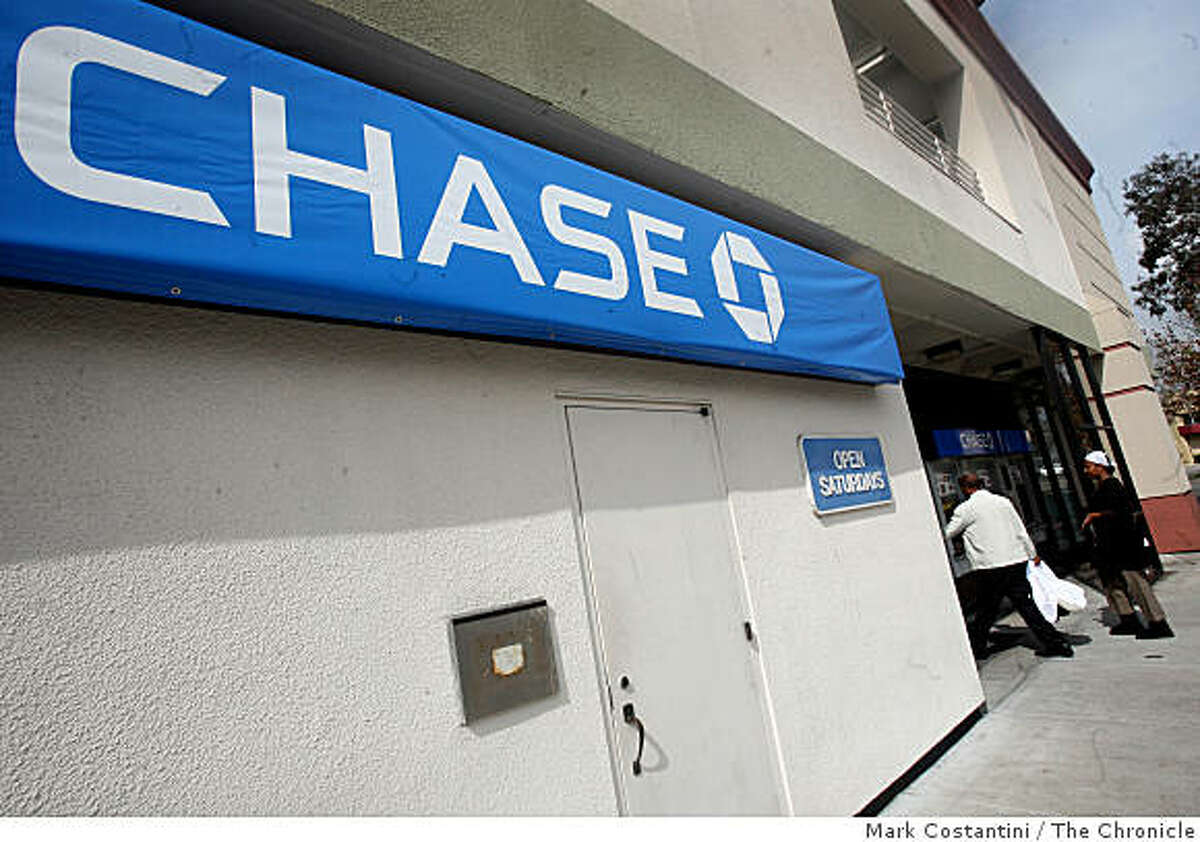 A sign hangs on the front Chase's Homeownership Center in Oakland, Calif. on Tuesday, March 17, 2009.