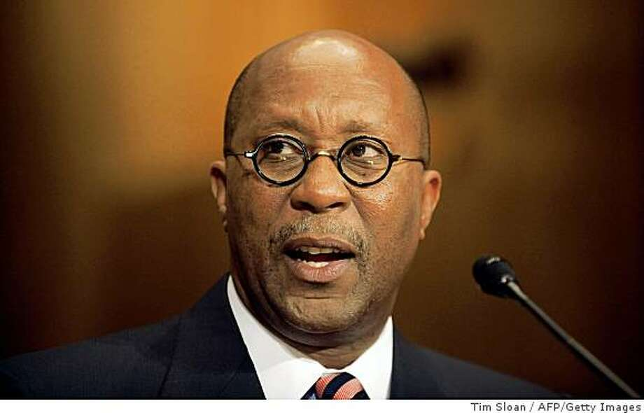 Former Dallas Mayor Ron Kirk testifies before the Senate Finance Committee on his nomination to be US Trade Representative on March 9, 2009 on Capitol Hill in Washington.      AFP PHOTO/ TIM SLOAN (Photo credit should read TIM SLOAN/AFP/Getty Images) Photo: Tim Sloan, AFP/Getty Images