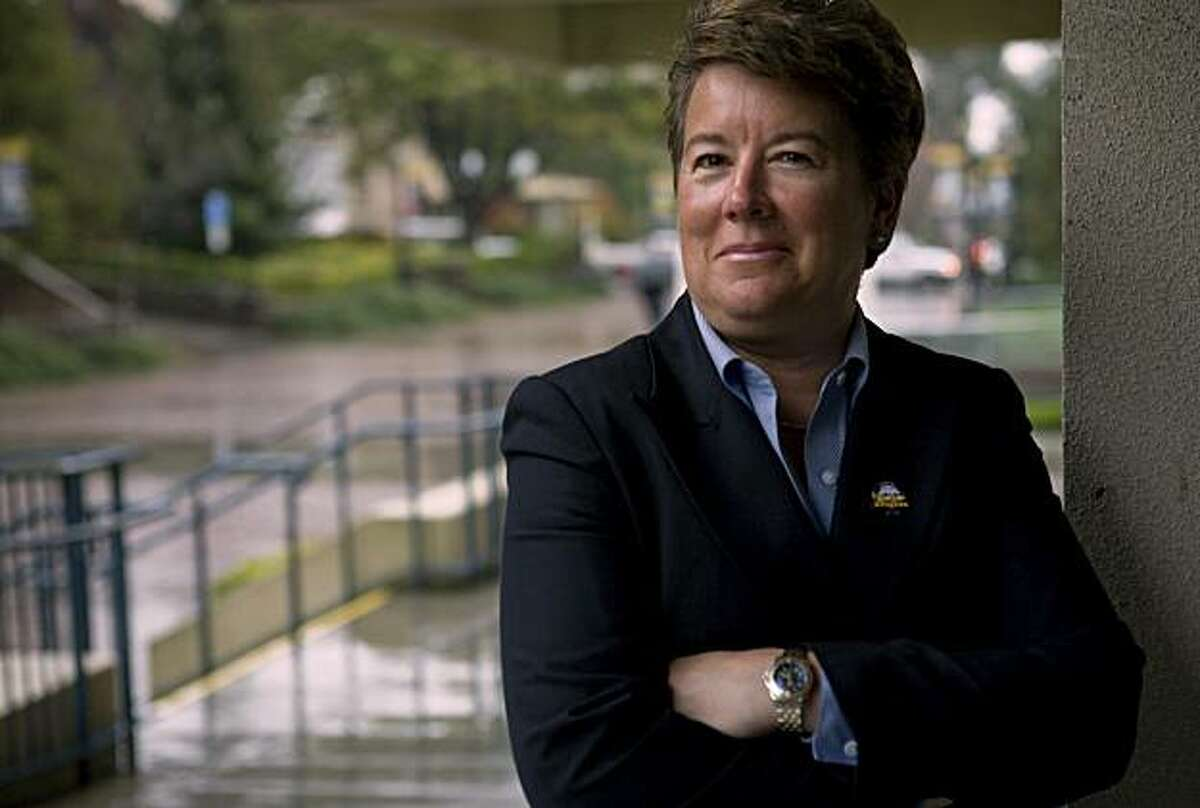 Cal Athletic Director Sandy Barbour stands outside Haas Pavilion in Berkeley, Calif., on Tuesday, Mar. 3, 2009.