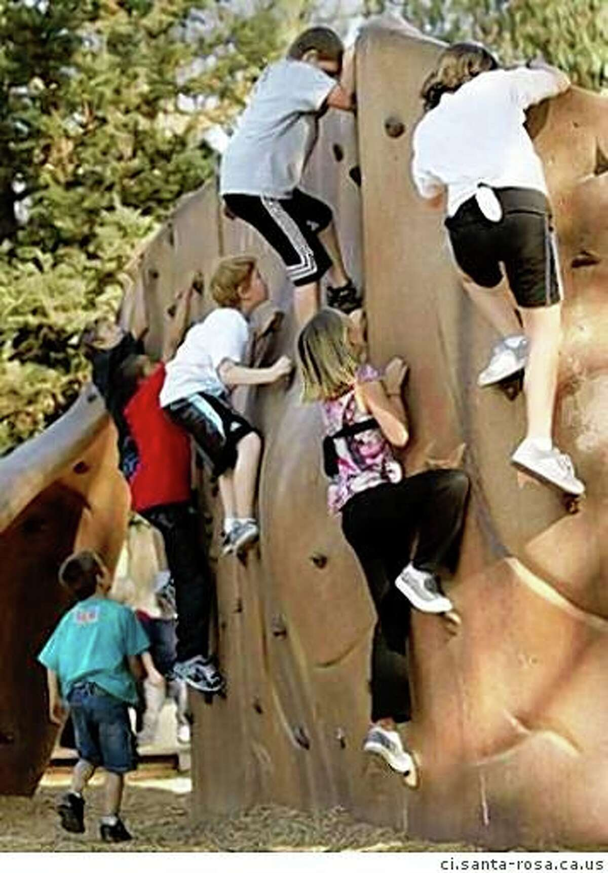 The climbing wall at Howarth Park in Santa Rosa.
