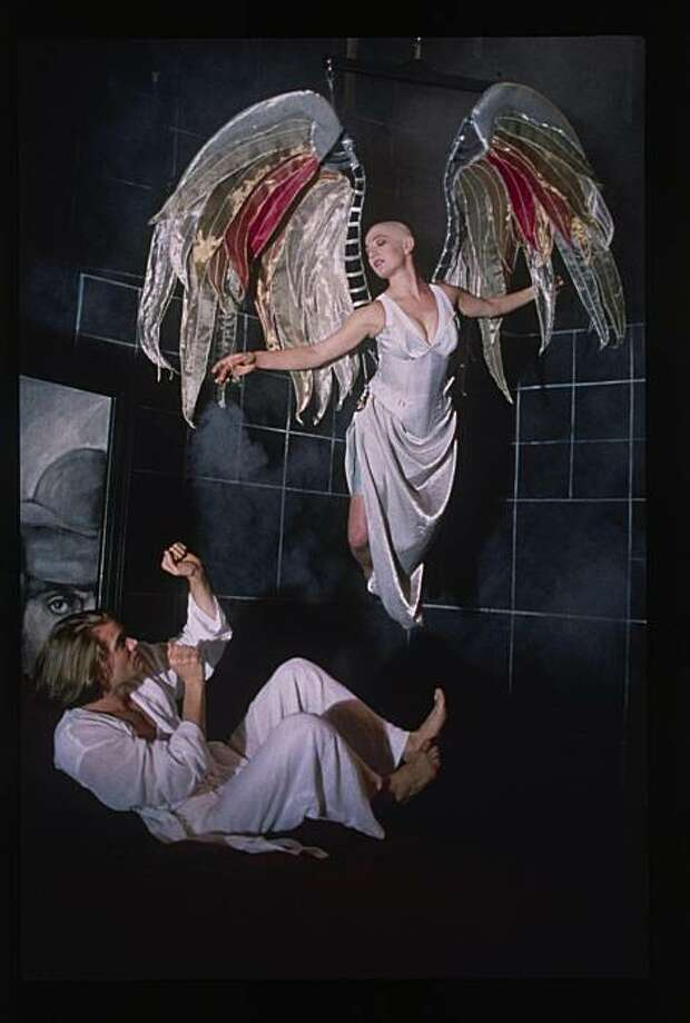 The Angel (Lise Bruneau) appears to Prior (Garret Dillahunt) in Angels in America, American Conservatory Theater, San Francisco, 1994.     Credit:  Ken Friedman/American Conservatory Theater Photo: Ken Friedman, American Conservatory Theater