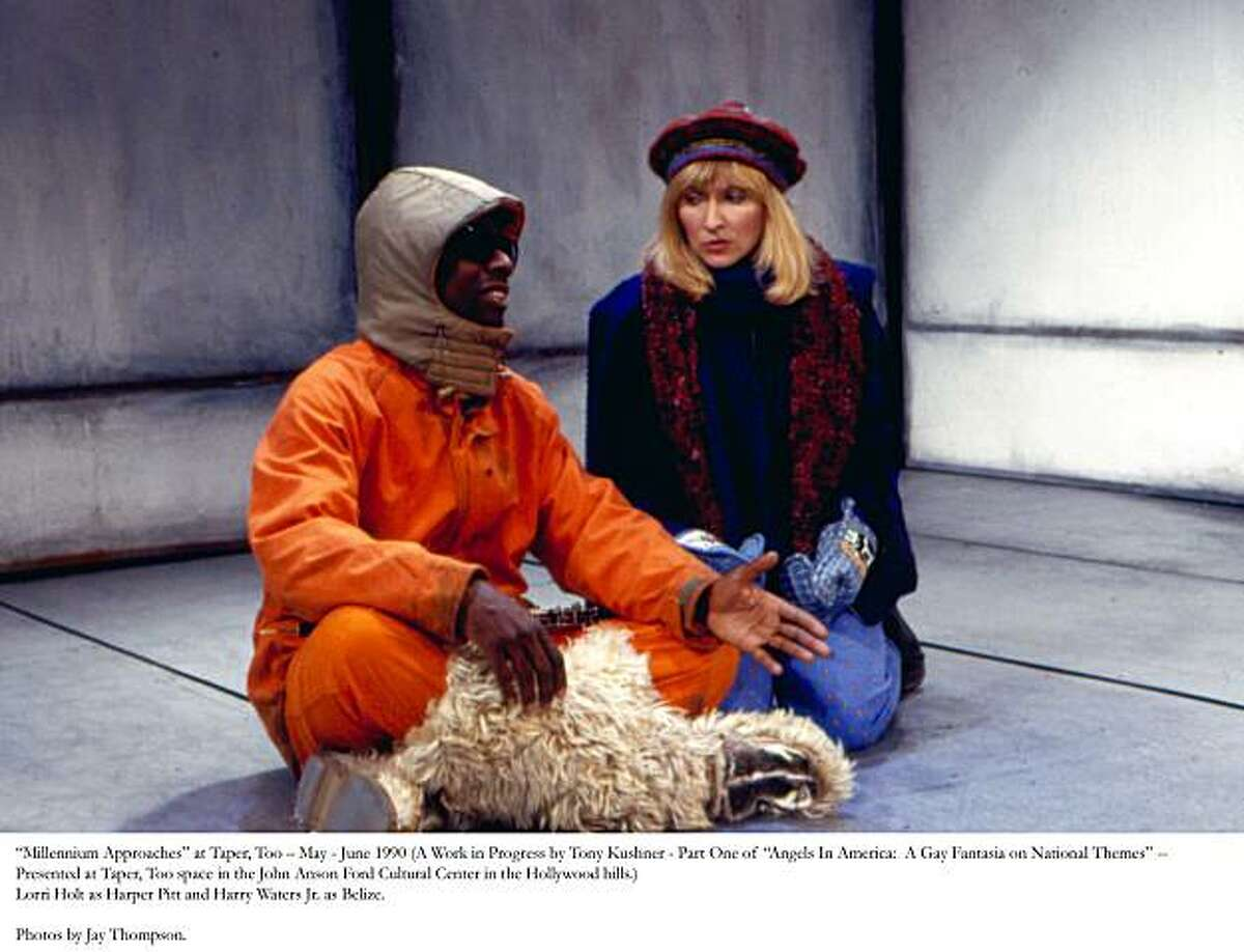 Mr. Lies (Harry Waters Jr.) and Harper (Lorri Holt) in Antarctica in the first workshop production of Angels in America, Part One, Millennium Approaches. Taper, Too, Los Angeles, 1990. Credit: Katy Raddatz/Museum of Performance & Design