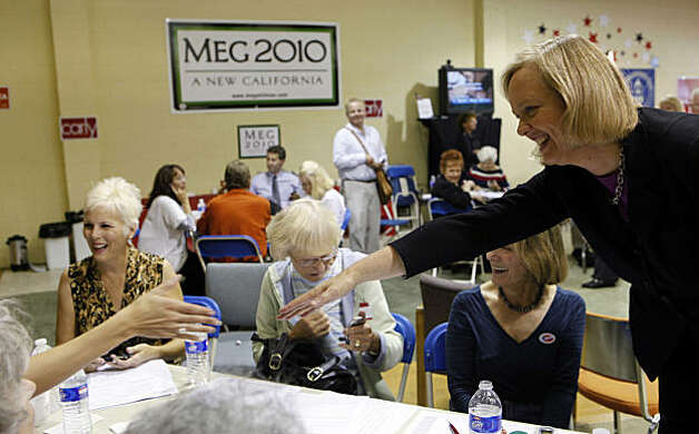 Republican California gubernatorial candidate Meg Whitman, right,  thanks her supporters at the Pasadena Republican headquarters in Pasadena, Calif. on Tuesday, Nov. 2, 2010. The former CEO of eBay poured more than $150 million of her own money into the campaign, making it the most expensive non presidential race in the nation's history. Photo: Damian Dovarganes, AP