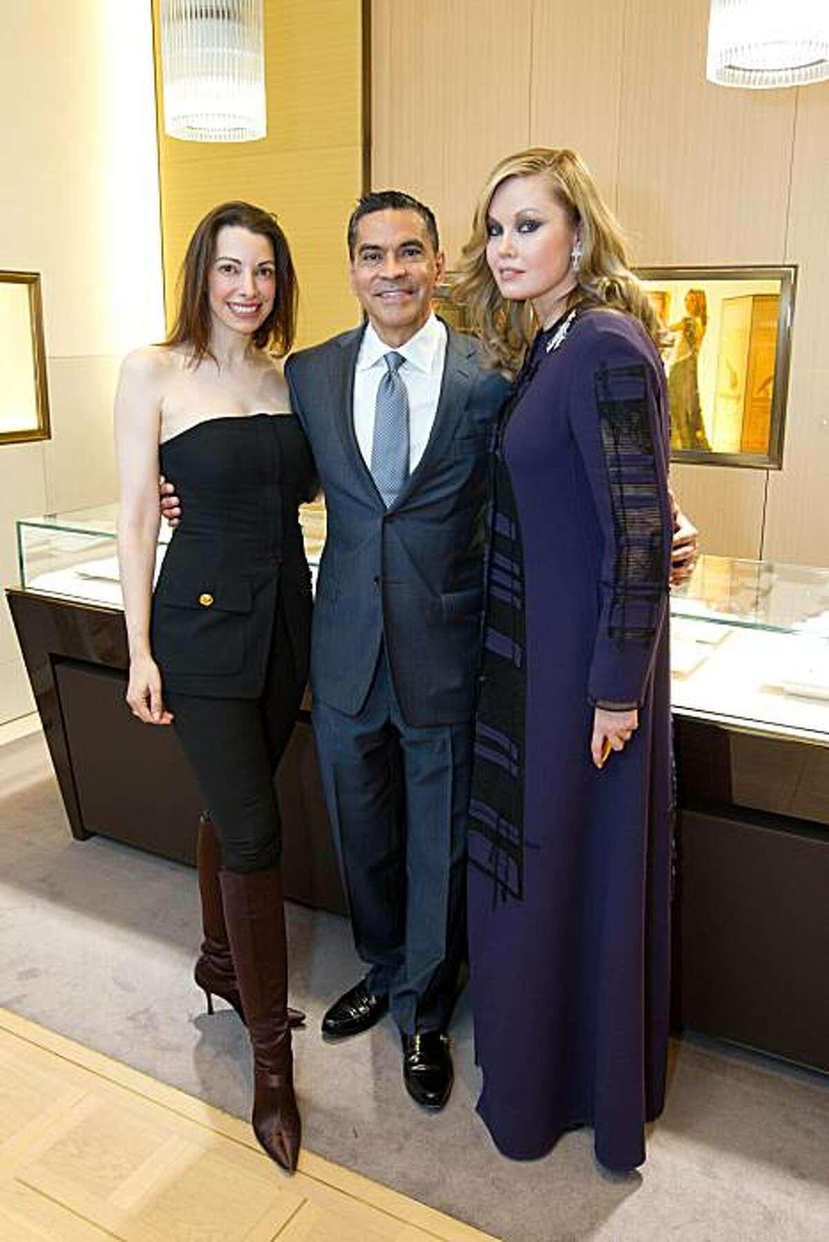 L to R: Shannon Bavaro, Bulgari boutique manager Daniel Diaz and Tatianna Sorokko.
