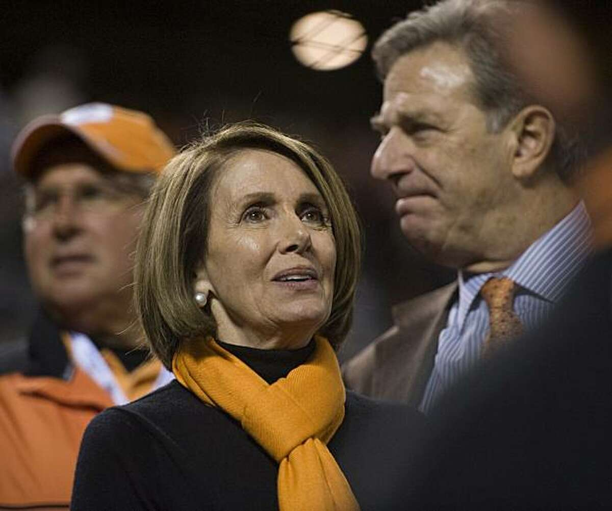 Speaker of the House Nancy Pelosi enjoys Game 1 of the World Series between the San Francisco Giants and the Texas Rangers at AT&T Park in San Francisco, California, on Wednesday, October 27, 2010.