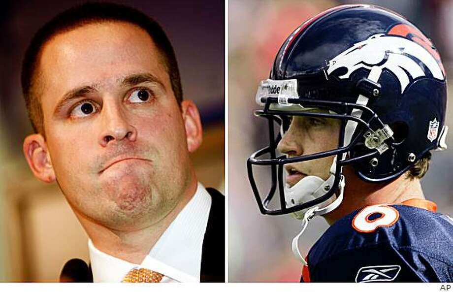 At left, in a Jan. 12, 2009 file photo, Denver Broncos coach Josh McDaniels listens during a news conference in Englewood, Colo. At right, in an Oct. 5, 2008 file photo, Denver Broncos quarterback Jay Cutler looks on against the Tampa Bay Buccaneers during an NFL football game in Denver. The rocky relationship that sprung out of new Denver Broncos boss Josh McDaniels' efforts to trade Pro Bowler Jay Cutler might actually foster growth in both men's careers, providing this spat doesn't end in an ugly divorce first.. Photo: AP