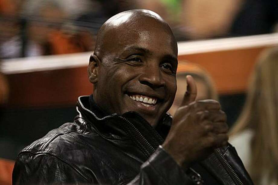 SAN FRANCISCO - OCTOBER 27:  Barry Bonds gestures from his seat during Game One of the 2010 MLB World Series at AT&T Park on October 27, 2010 in San Francisco, California. Photo: Ezra Shaw, Getty Images