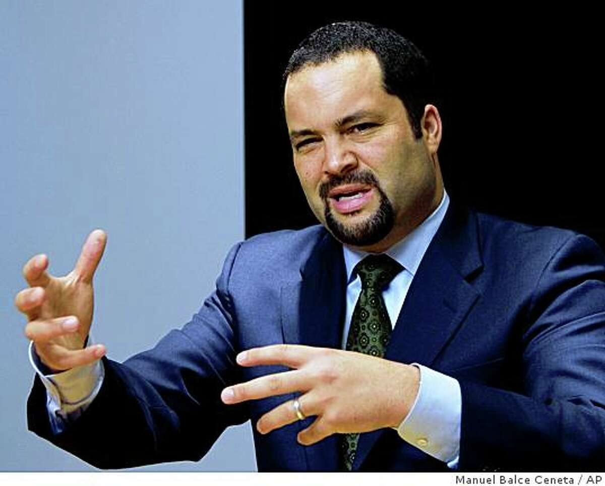 In this Feb. 3, 2009 file photo, NAACP President and Chief Executive Officer Benjamin Jealous gestures during an interview with The Associated Press, in Washington.