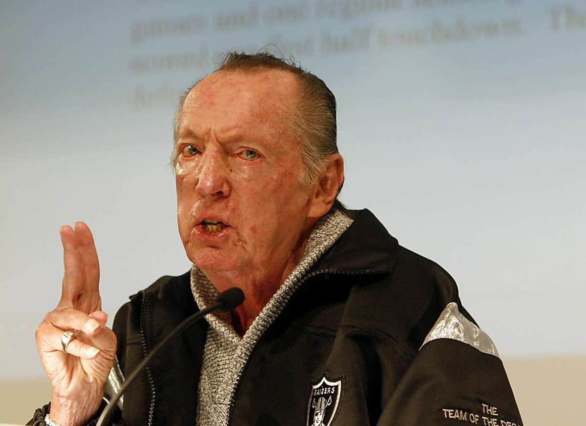 Oakland Raiders owner Al Davis confirms the firing of head coach Lane Kiffin at the team's headquarters in Alameda, Calif., on Tuesday, Sept. 30, 2008.