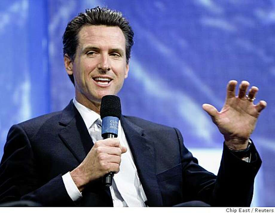 Gavin Newsom, mayor of San Francisco, participates in a panel discussion during the Clinton Global Initiative in New York September 25, 2008. Established by former U.S. president Bill Clinton in 2005, the event is designed to bring donors together with people in need to try to solve global problems.  REUTERS/Chip East (UNITED STATES) Photo: Chip East, Reuters