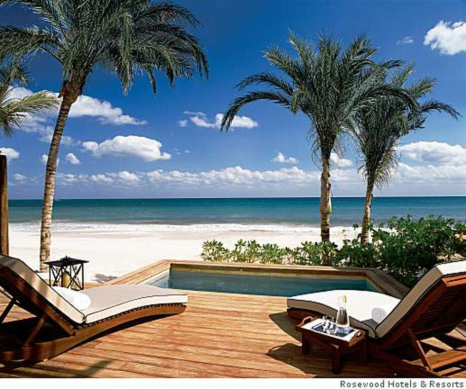 BEACHFRONTSUITE: Beachfront suites at Rosewood Mayakoba, like this one, come with a private plunge pool on a deck overlooking the surf. The resort is in the Riviera Maya on the Yucatan coast of Mexico. Photo: Rosewood Hotels & Resorts