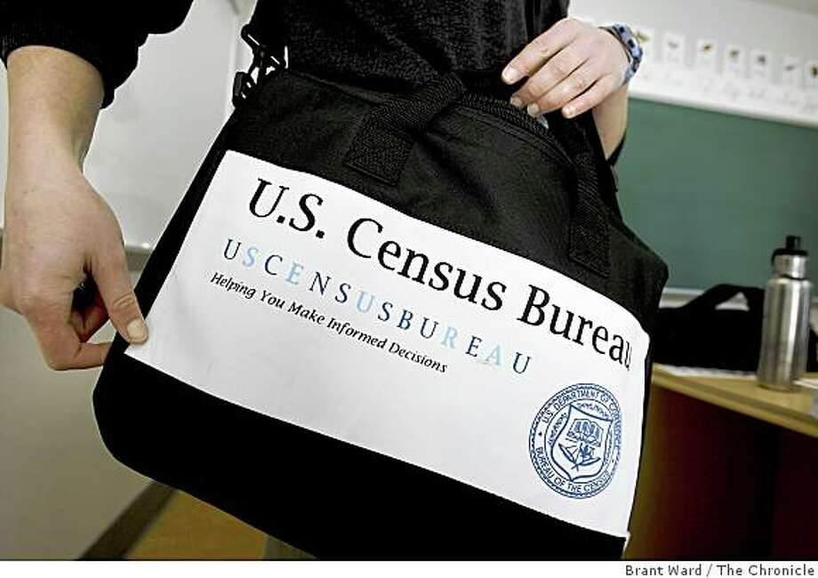 Census workers will be able to be recognized by their identification cards and a bag with their logo on it. The Census Bureau is hiring and training thousands of people around the Bay Area in preparation for its first major blitz of work including a class Thursday March 12, 2009 at City College of San Francisco Mission district campus. Photo: Brant Ward, The Chronicle