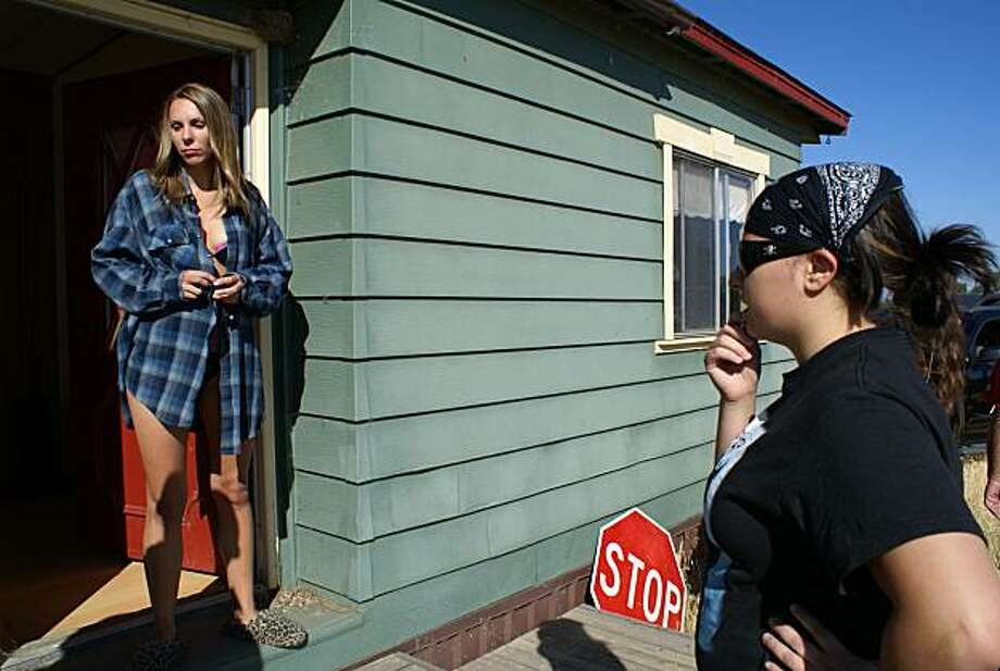 """Writer-director Janessa Starky (right) directs Holly Nugent, as a meth-addicted mom, in """"Behind the Door of a Secret Girl,"""" screening Nov. 8 at the American Indian Film Festival. Photo: American Indian Film Festival"""