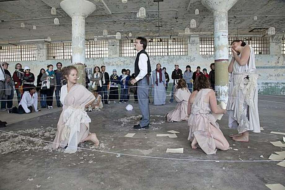 "Players (Cara Zeisloft, Ali Hanson, Rebecca Longworth), Laertes (Benjamin Stowe), and Ophelia (Misti Boettiger) in, ""Hamlet on Alcatraz."" Photo: Peter Merts"