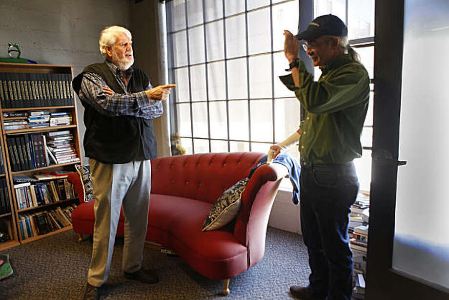 Bruce Brugmann (left), former owner of the Bay Guardian, talks with Tim Redmond, Bay Guardian executive editor, in his office on Friday, October 15, 2010 in San Francisco. Photo: Lea Suzuki, The Chronicle