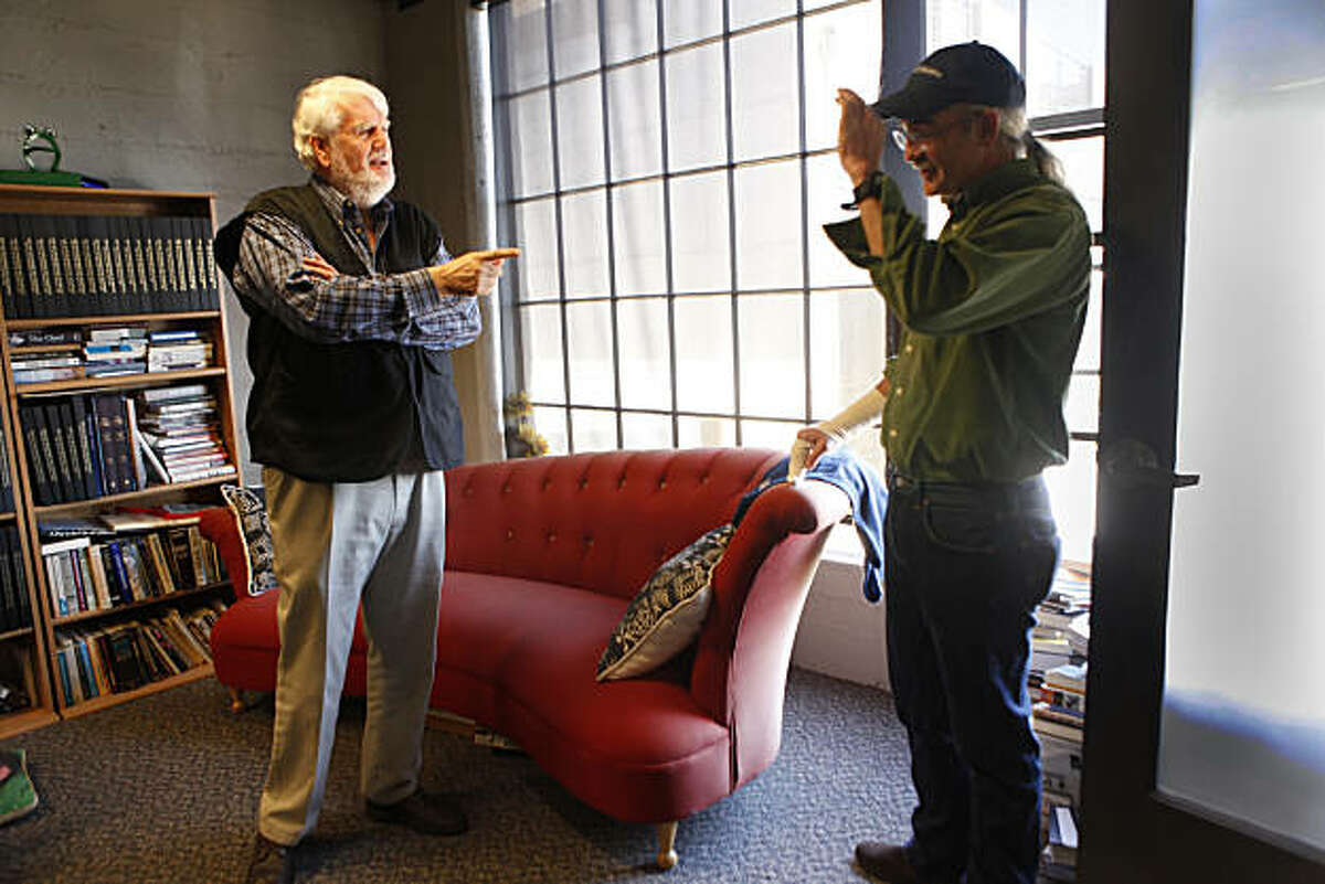 Bruce Brugmann (left), former owner of the Bay Guardian, talks with Tim Redmond, Bay Guardian executive editor, in his office on Friday, October 15, 2010 in San Francisco.
