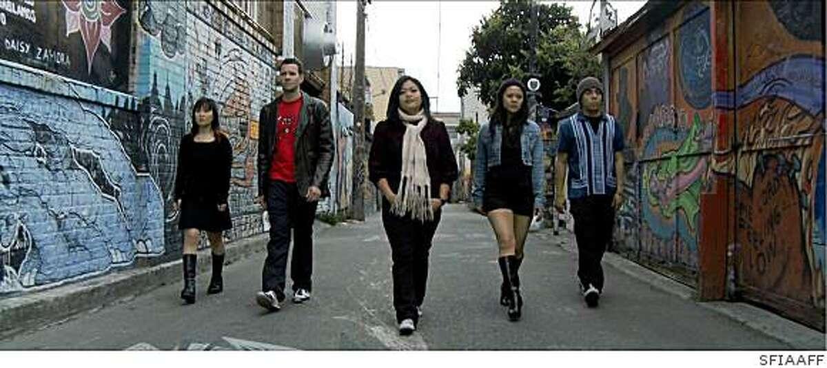 """Fruit Fly"": E.S. Park as Karen, Mike Curtis as Windham, L.A. Renigen as Bethesda, Theresa Navarro as Sharon, Aaron Zaragoza as Jacob."