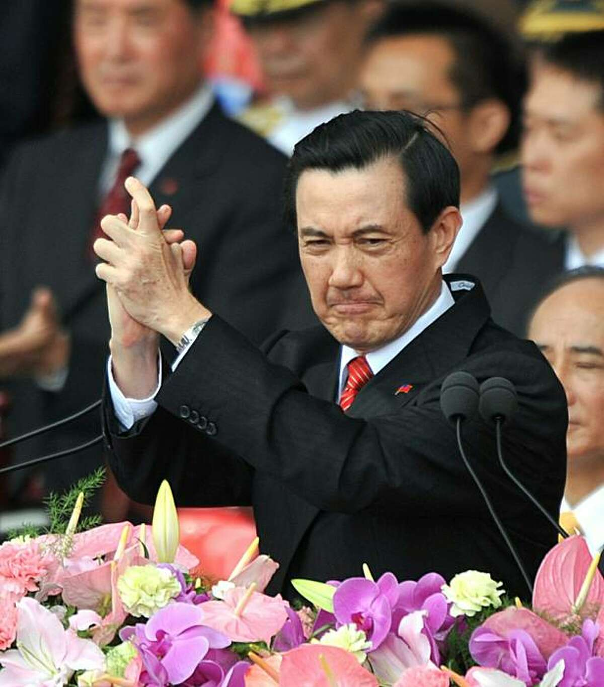 Taiwan President Ma Ying-jeou speaks at a National Day celebration in downtown Taipei on October 10, 2010. Taiwan will keep buying arms abroad as it cannot solely rely on improving ties with China for its security, Ma said. Taiwanese experts estimate that the Chinese military has more than 1,600 missiles aimed at the island.