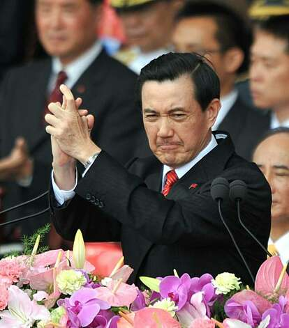 Taiwan President Ma Ying-jeou speaks at a National Day celebration in downtown Taipei on October 10, 2010.  Taiwan will keep buying arms abroad as it cannot solely rely on improving ties with China for its security, Ma said. Taiwanese experts estimate that the Chinese military has more than 1,600 missiles aimed at the island. Photo: Patrick Lin, AFP/Getty Images
