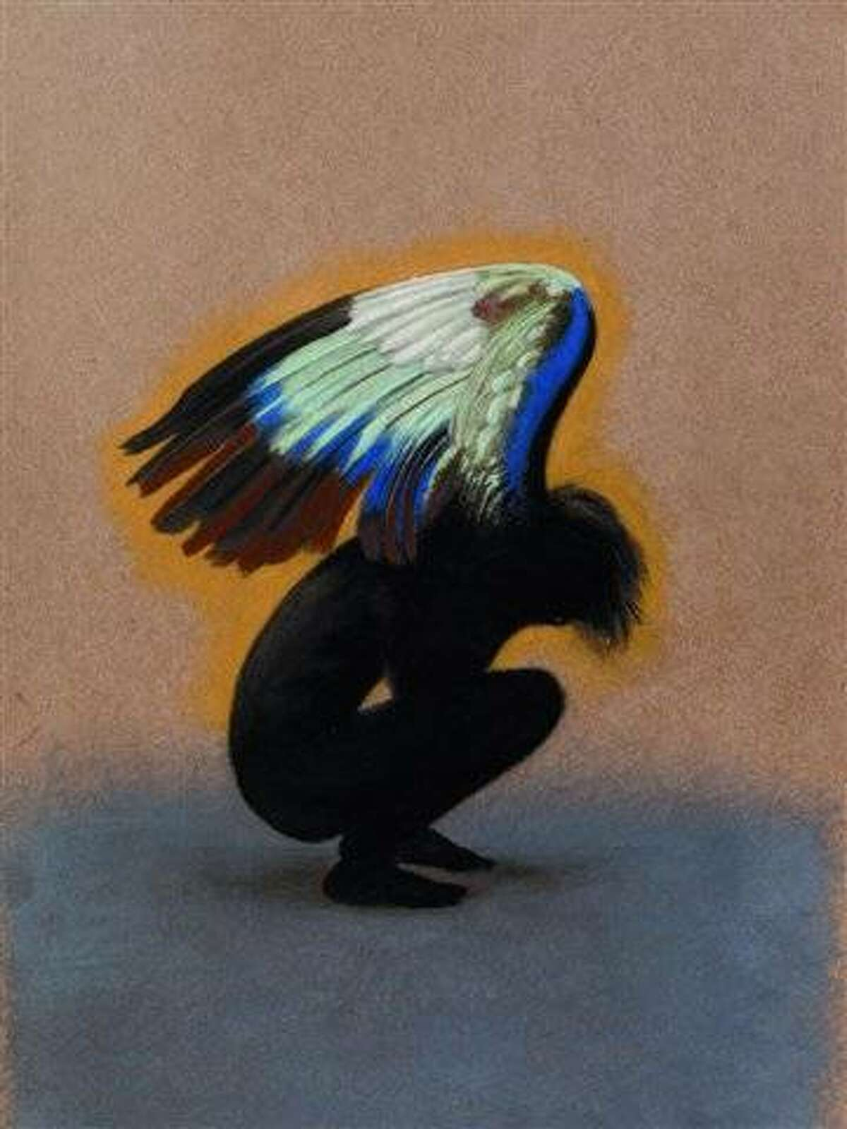 The original artwork by Milton Glaser for the Broadway production of Angels in America, which became an iconic image of the show, will be included in the exhibition. Colored pencil on board. Credit: Milton Glaser, 1993