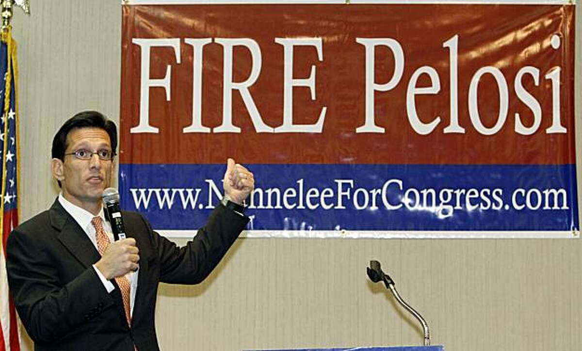 House Republican Whip Eric Cantor, R-Va., urges attendees of a lunch on behalf of First Congressional District Republican candidate Alan Nunnelee to vote the House Speaker Nancy Pelosi, D-Calif.,