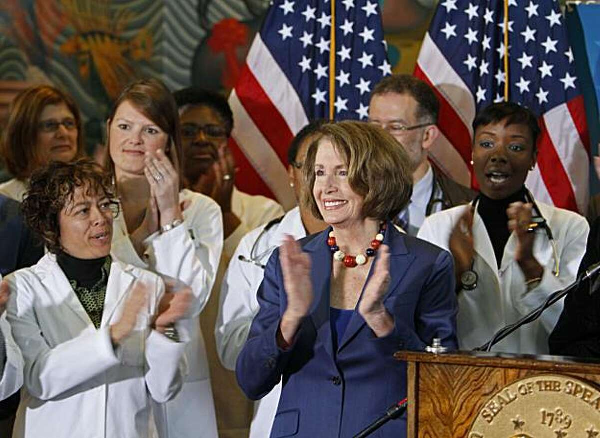 House Speaker Nancy Pelosi applauds while joining community leaders and health reform advocates to celebrate the passage of health insurance reform legislation at a senior center in San Francisco, Monday, March 29, 2010.