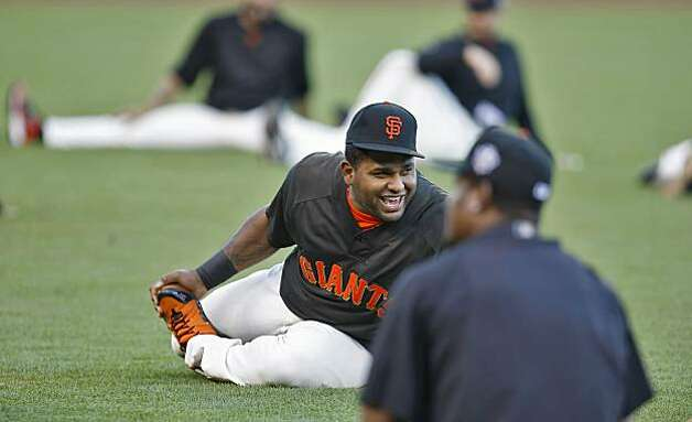 San Francisco Giants Pablo Sandoval laughs with teammates during practice, in preparation of the Game 1 of the World Series, Tuesday Oct. 26, 2010, at AT&T Park, in San Francisco, Calif. Photo: Lacy Atkins, The Chronicle