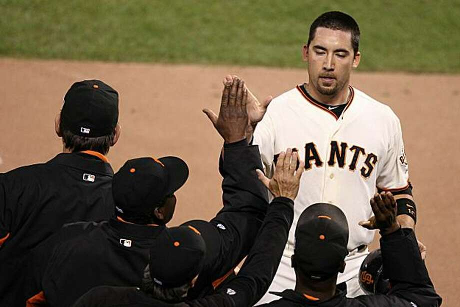 SAN FRANCISCO - OCTOBER 27:  Travis Ishikawa #10 of the San Francisco Giants celebrates after scoring in the eighth inning against the Texas Rangers in Game One of the 2010 MLB World Series at AT&T Park on October 27, 2010 in San Francisco, California. Photo: Christian Petersen, Getty Images