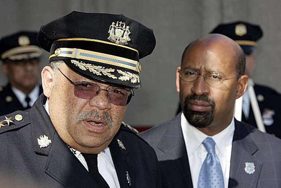 ** RETRANSMISSION TO CORRECT CITY IN IPTC FIELD AND OBJECT NAME** Philadelphia Police Commissioner Charles H. Ramsey, left, and Mayor Michael Nutter, right, answer questions at a news briefing Wednesday, May 7, 2008, in Philadelphia, regarding the allegations of police brutality during the arrest of three shooting suspects that was videotaped by a local news helicopter two days ago. (AP Photo/Tom Mihalek) Photo: Tom Mihalek, AP