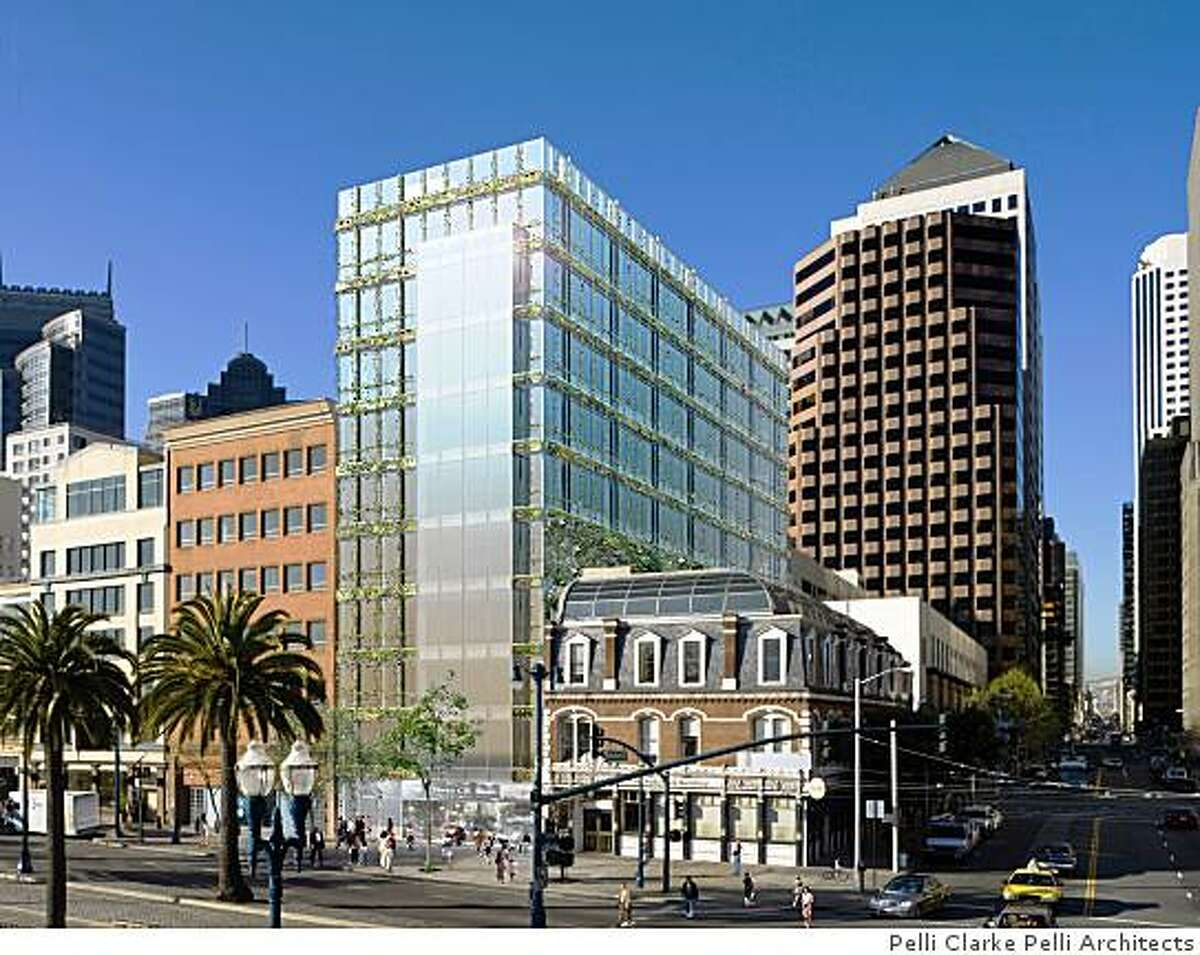 ****DEVELOPERS SAY THIS IS AN OUTDATED RENDERING...DJ****Undated handout renderings from Pelli Clarke Pelli Architects shows a proposed 10-story building on the Embarcadero next to the Audiffred Building, a historic 1889 brick landmark that houses the restaurant Boulevard. This rendering shows what 110 Embarcadero would look like from the north east.