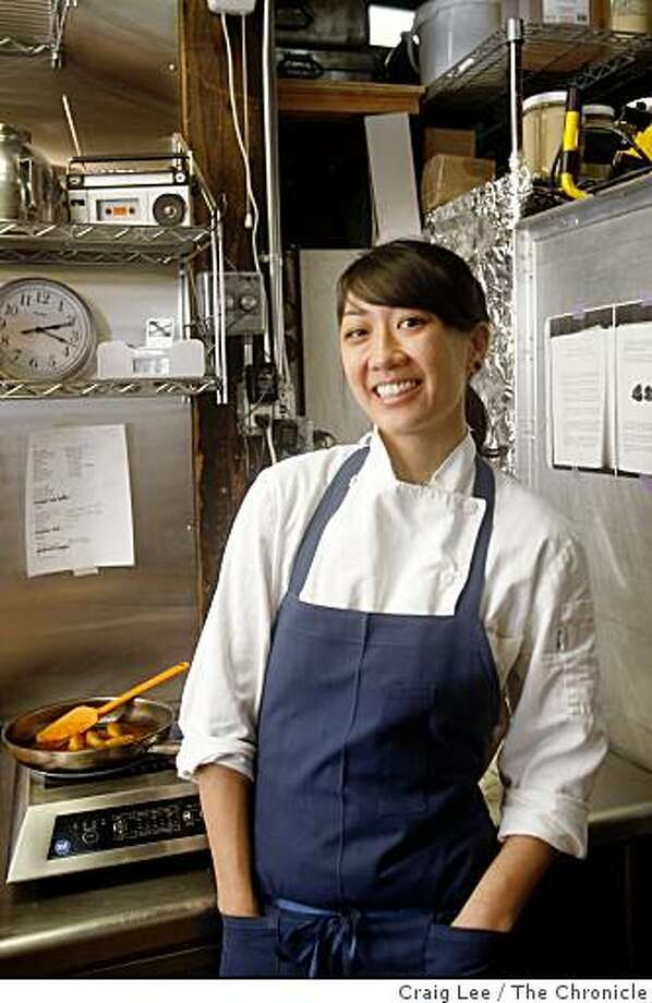 Melissa Chou, pastry chef at Aziza restaurant, in San Francisco, Calif., on March 4, 2009. Her radio that she likes to listens to while she works is on the shelf above. Photo: Craig Lee, The Chronicle
