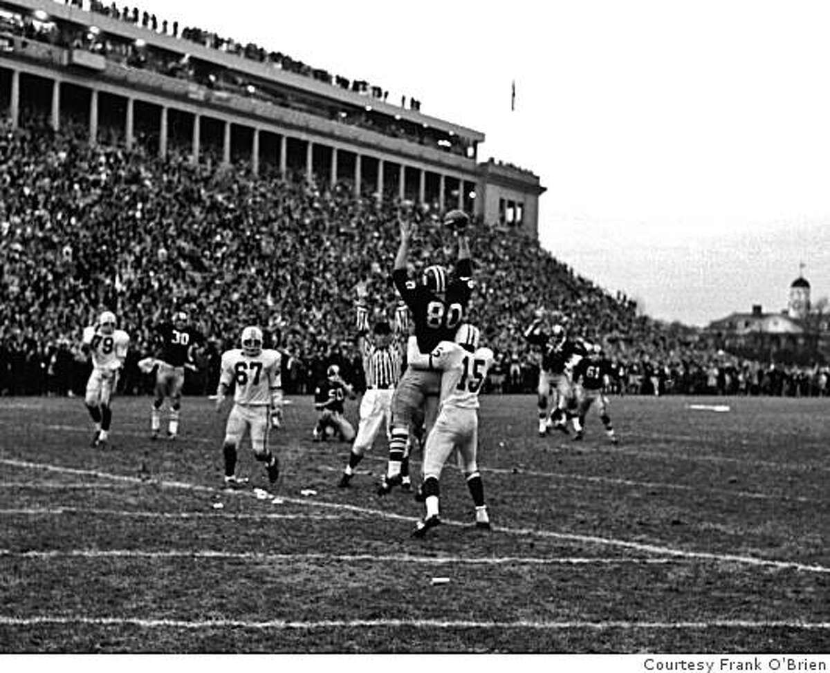 Harvard Beats Yale 29-29. Harvard's Pete Varney catches the two-point conversion that brought the score to 29-29.