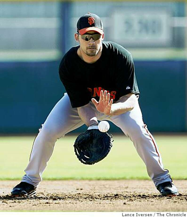San Francisco Giants Travis Ishikawa fields a ground ball at 2nd base during Spring Training workouts at Scottsdale Stadium Thursday February 19, 2009 in Scottsdale Arizona Photo: Lance Iversen, The Chronicle