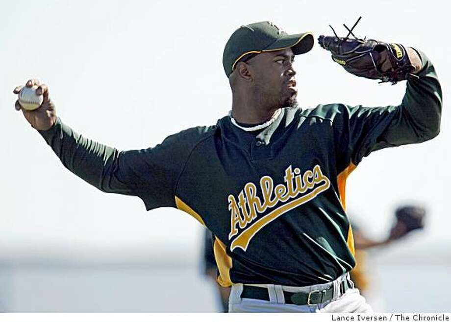 Oakland Athletics pitcher Jerome Williams warms up with teammates during Spring Training workouts at Papago Baseball Complex Wednesday February 18, 2009 in Phoenix Arizona Photo: Lance Iversen, The Chronicle