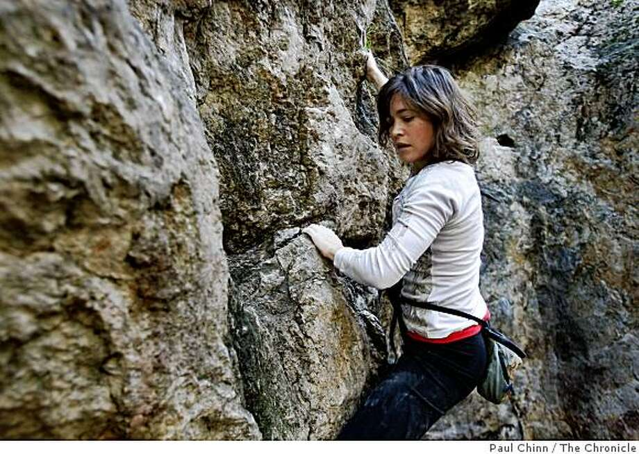 Rock climber Katie Brown scales the north side of Indian Rock in Berkeley, Calif., on Tuesday, Feb. 24, 2009. Photo: Paul Chinn, The Chronicle