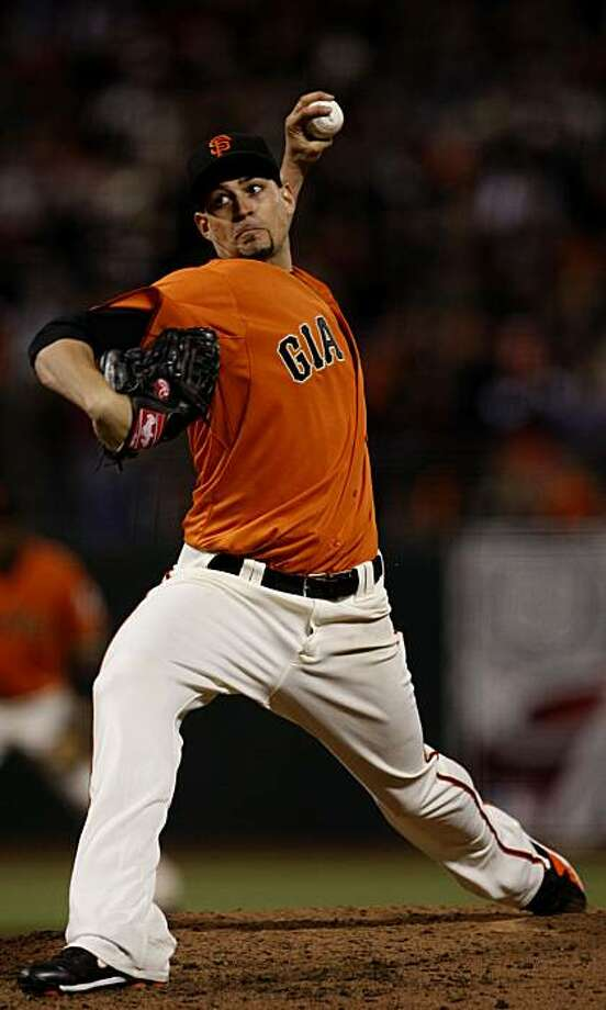 Pitcher Jonathan Sanchez gave up two runs in the top of the second inning as the Giants face-off against the San Diego Padres for game one of a three game series at AT&T Park on Friday, August 13, 2010 in San Francisco, Calif. Photo: John Sebastian Russo, The Chronicle
