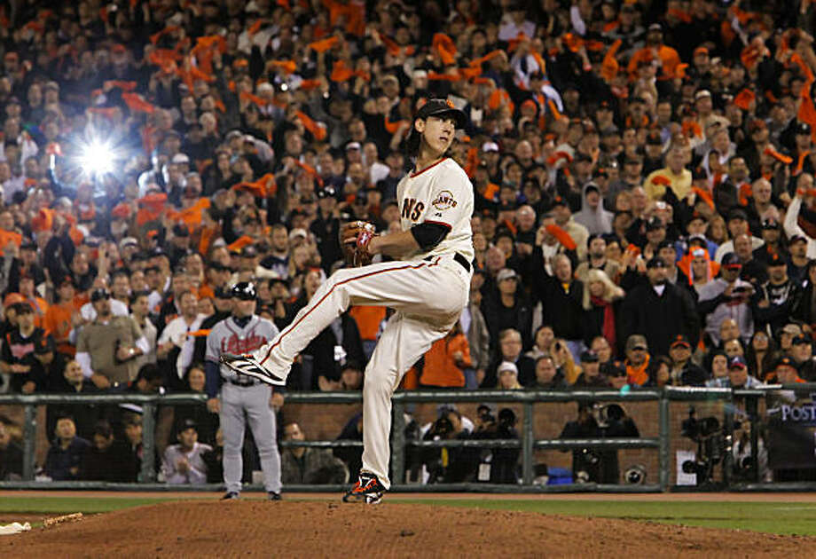 Giants starting pitcher Tim Lincecum, closes out the 9th inning, he finished with a total of 14 strikeouts during game one of the National League Division Series between the San Francisco Giants and Atlanta Braves which the Giants won 1-0, at AT&T Park in San Francisco, Calif., on Thursday Oct. 7, 2010. Photo: Michael Macor, The Chronicle