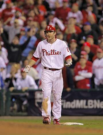 An exchange of words between Chase Utley (pictured), who was just hit by a pitch, and Giants pitcher Jonathan Sanchez led to the benches clearing in the third inning of Game 6 of the NLCS on Saturday at Citizens Bank Park in Philadelphia. Photo: Michael Macor, The Chronicle