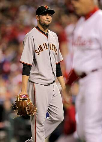 Giants starting pitcher Jonathan Sanchez walks off the mound after giving up two runs in the first inning against the Phillies in Game 6 of the NLCS on Saturday at Citizens Bank Park in Philadelphia. Photo: Michael Macor, The Chronicle