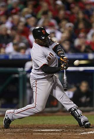 Giants Juan Uribe's 8th inning home run put the Giants in the lead 3-2 in game six of the NLCS game with the Philadelphia Phillies Saturday Oct. 23, 2010 at Citizens Bank Park in Philadelphia PA. Photo: Lance Iversen, The Chronicle