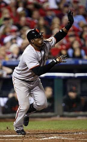 San Francisco Giants Juan Uribe's 8th inning home run put the Giants in the lead 3-2 in game six of the NLCS game with the Philadelphia Phillies Saturday Oct. 23, 2010 at Citizens Bank Park in Philadelphia PA. Photo: Lance Iversen, The Chronicle