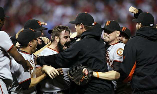 Giants, Brian Wilson celebrates the Giants victory with his teammates over the Philadelphia Phillies 3-2 in game six of the National League Championship Series, Saturday Oct. 23, 2010 at Citizens Bank Park in Philadelphia PA. Photo: Lance Iversen, The Chronicle