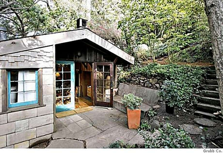 Main entry to Bernard Maybeck garage, 724 square feet on the market in Berkeley for $575,000 Photo: Grubb Co.