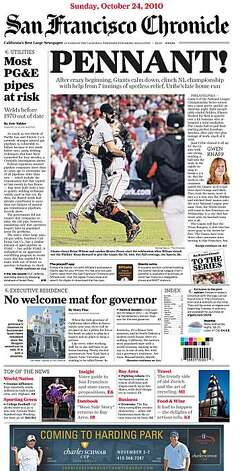 "The San Francisco Chronicle ""To The Series"" Extra cover page."