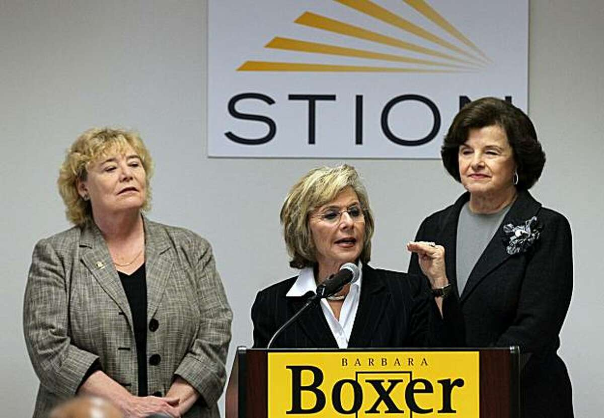 SAN JOSE, CA - OCTOBER 25: U.S. Sen. Barbara Boxer (D-CA) (C) speaks as Sen. Dianne Feinstein (D-CA) (C) and U.S. Rep. Zoe Lofgren (D-CA) (L) looks on during a news conference after touring the Stion production facility on October 25, 2010 in San Jose, California. With one week to go before the election, U.S. Sen. Barbara Boxer continues to campaign throughout the state of California in hopes of keeping her senate seat by defeating her republican challenger and former HP CEO Carly Fiorina.
