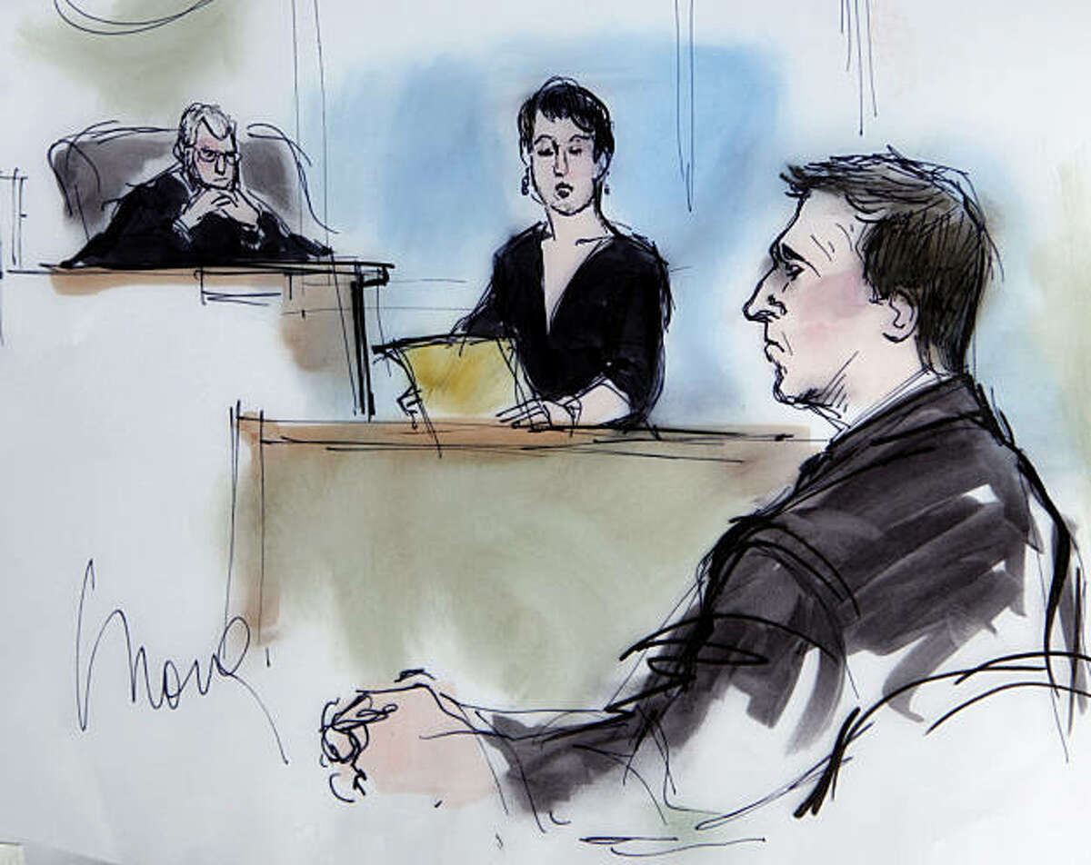 In this artist's sketch, former BART police officer Johannes Mehserle listens as the court clerk reads the verdict of guilty of involuntary manslaughter in the killing of Oscar Grant on an Oakland train station, at the Criminal Justice Center in Los Angeles Thursday, July 8, 2010. Judge Robert J. Perry is at left. (AP Photo/Mona Shafer Edwards)