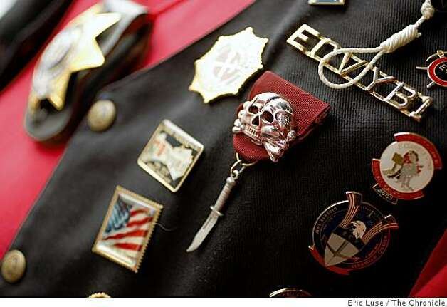 "The vest of Gary ""Hangman"" Kammerer of the San Francisco Chapter of E Clampus Vitus.  They've placed plaques around the city which commemorates the history  photographed on Monday, February 16, 2009. Photo: Eric Luse, The Chronicle"