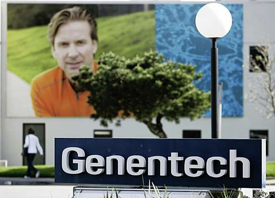 Exterior view of Genentech headquarters in South San Francisco, Calif., Friday, March 6, 2009. Swiss drug developer Roche boosted its hostile tender offer for biotechnology pioneer Genentech Inc. to $93 per share Friday, raising the total offer value to $45.7 billion, after its initial offer failed to pick up much support from shareholders.  (AP Photo/Paul Sakuma) Photo: Paul Sakuma, AP