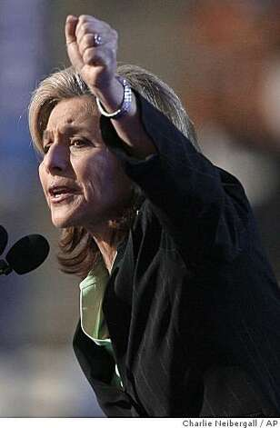 ** FILE ** In this Aug. 26, 2008 file photo, Sen. Barbara Boxer, D-Calif., addresses the Democratic National Convention in Denver.  Boxer plans a concerted effort to seek ratification of a United Nations global women's rights treaty completed 30 years ago as part of her agenda for a new Foreign Relations subcommittee chairmanship overseeing global women's issues. (AP Photo/Charlie Neibergall, File) Photo: Charlie Neibergall, AP