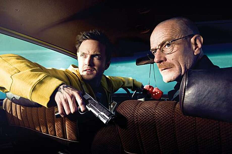 "Jesse Pinkman (Aaron Paul) and Walt White (Bryan Cranston) in AMC's ""Breaking Bad."" Photo: Ben Leuner, AMC"